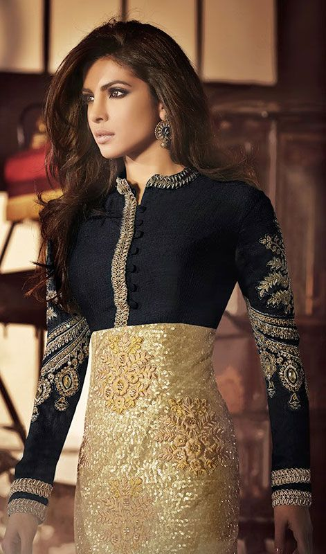 Be perfect example for classic style like Priyanka Chopra donning this black and gold color net bhagalpuri silk churidar suit. Ethnic resham, sequins, silver zardosi and stones work within clothing adds a sign of attractiveness statement for look. #PriyankachopraCollection: