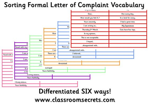 Sorting Formal Letter of Complaint Vocabulary Special ed - complaint letters