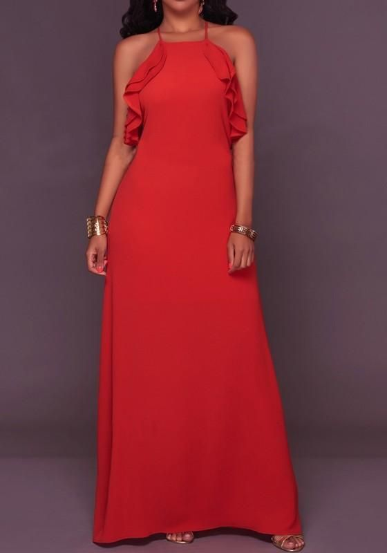 Red Backless Ruffle Spaghetti Straps Cross Back Halter Neck Sleeveless Elegant Prom Maxi Dress Dresses Fashion Style