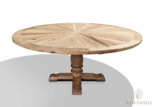 Tøft og rustikt, rundt elmwood spisebord av resirkulert alm ...