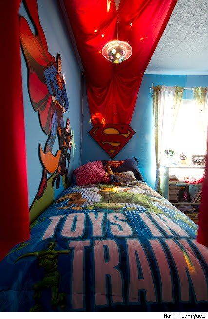 Superman Themed Bedroom cape canopy for l's room | superhero themed bedroom | pinterest