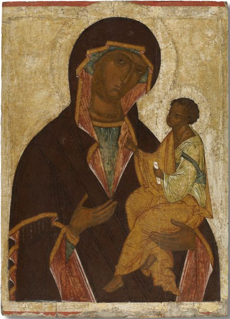 Icon of the Virgin Hodegetria (Georgian). End of the XV century. Novgorod.