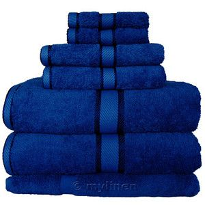 Blue towels for the do tor who guest bathroom