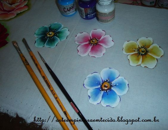 Pintura em Tecido Passo a Passo Com Fotos: Pintura em Tecido Rosa Silvestre…