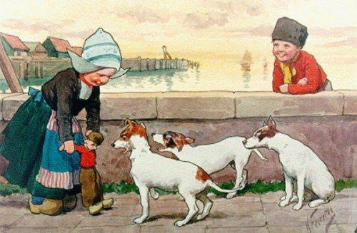 """""""Children On A Quay, Volendam"""" - by Karl Feiertag, (1874-1944, Austrian)"""