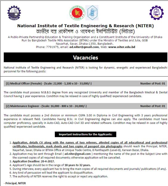 National Institute Of Textile Engineering  Research Niter Job