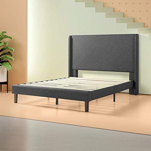 Zinus Marcus Upholstered Wingback Platform Bed Mattress