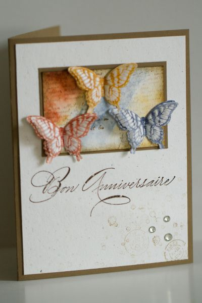 Papillon Potpourri use vellum and dry embossing, colours Cajun craze, more mustard and midnight muse , aqua painter onto water colour paper, also stamped on whisper white and vellum