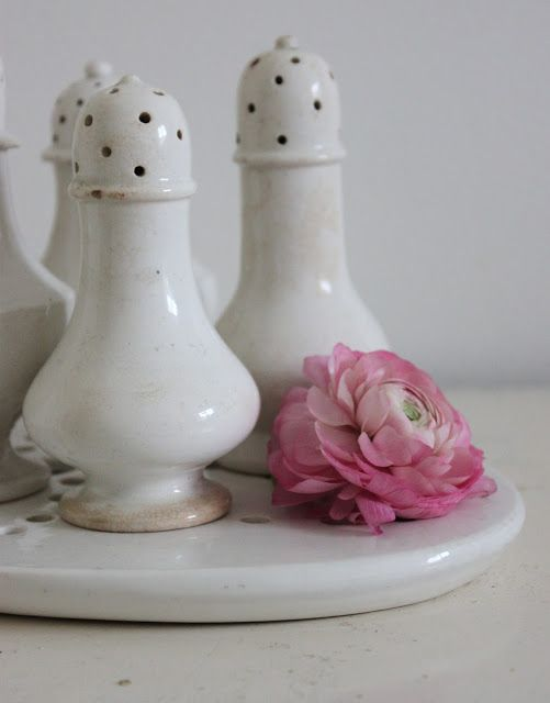 Ironstone/faience salt/pepper shakers