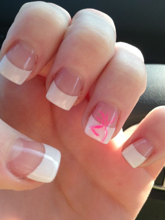 pink browning symbol on french tip beauty pinterest