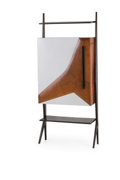 Anonymous; Rosewood, Lacquered Wood, Formica, Brass, Vinyl and Glass Bar Cabinet, 1950s.