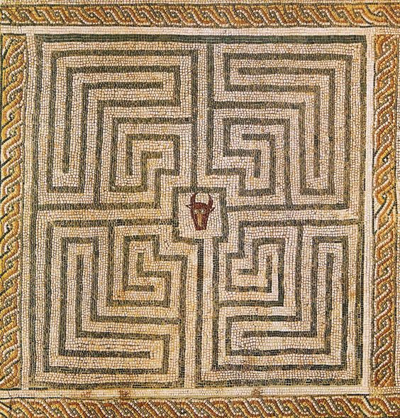 sporadicq:  Minotaur in Labyrinth, Roman mosaic at Conímbriga, Portugal.: