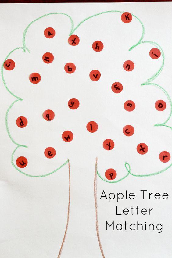 Apple tree alphabet activity for preschoolers.
