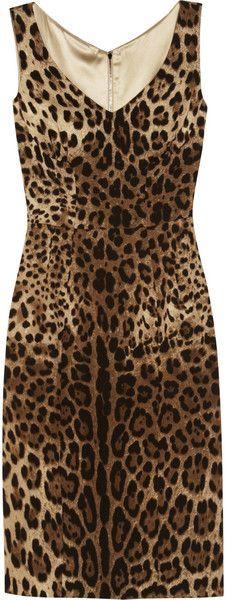 DOLCE & GABBANA Leopardprint Crepe Dress - Lyst