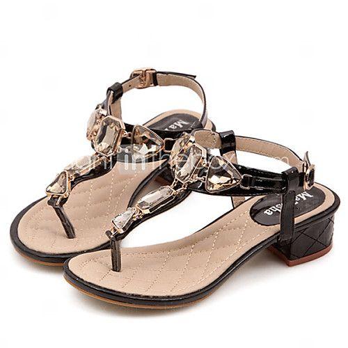 Calçados Femininos Courino Salto Grosso Chinelos Sandálias Casual Preto/Branco - EUR €19.99