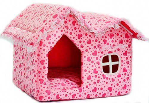 Pink With Small Heart Soft Large Inner Room Small Dog Bed Igloo