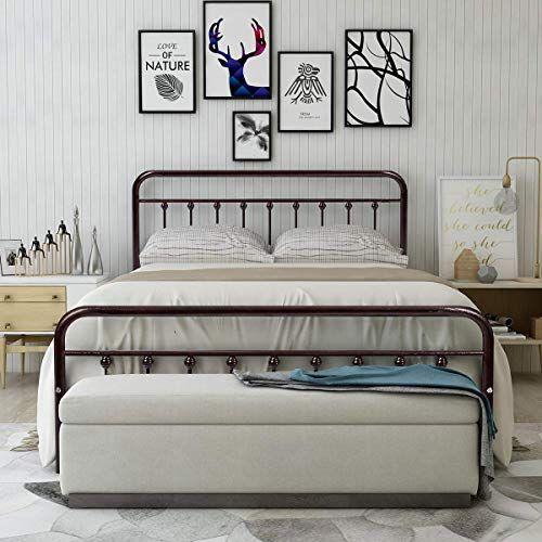 New Homerecommend Metal Bed Frame Queen Size Steel Slats Platform