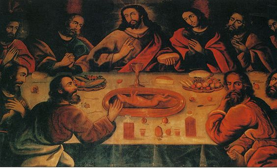 """The Last Supper"" By Marcos Zapata Showing Christ And The Apostles Having Guinea Pig With A Glass Of Chicha. This painting hangs in the Cathedral of Cuzco, Peru:"