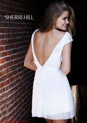 STUNNING Low Back Ivory Cocktail Dress - Sherri Hill Short Prom ...