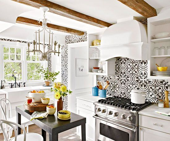 Tile backsplash ideas for behind the range small kitchens black and white tiles and bold - Black and white tile kitchen backsplash ...