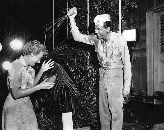 Deborah Kerr and William Holden having fun 1956