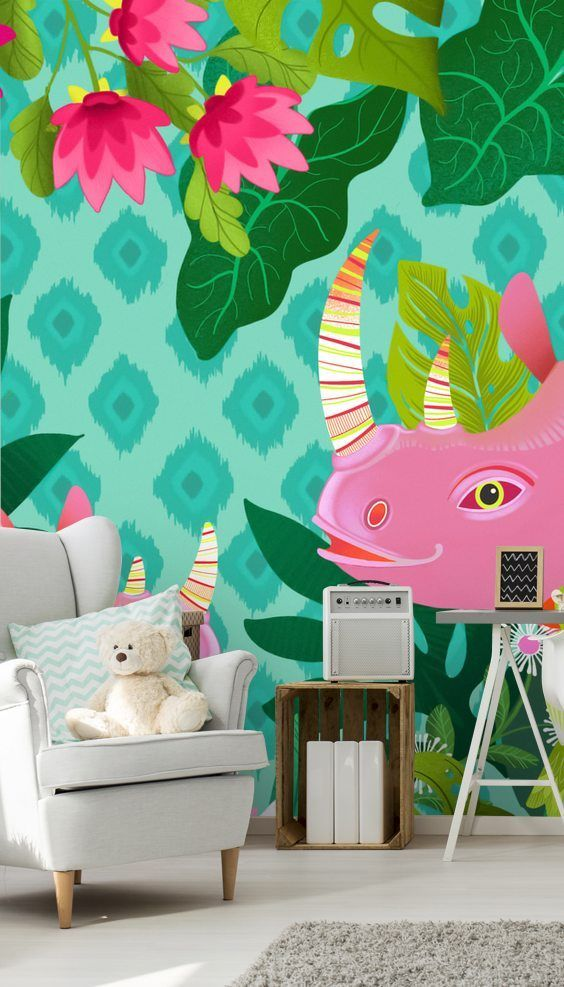 Pink Rhino Wall Mural By Michael Zindell Wallsauce Us In 2020 Mural Wall Murals Murals For Kids