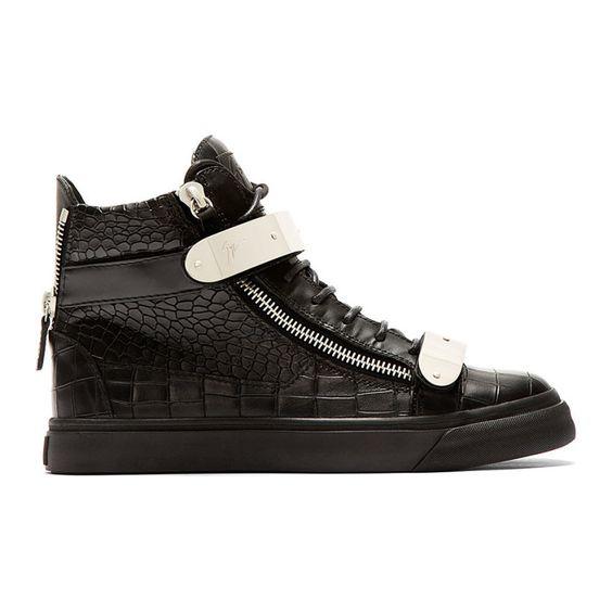 Giuseppe Zanotti Black Croc-Embossed Leather High-Top Sneakers