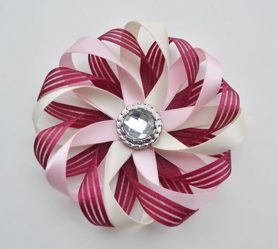 Flower Hair Clip Burgundy Hair Bow Ivory by ZZHairAccessories: