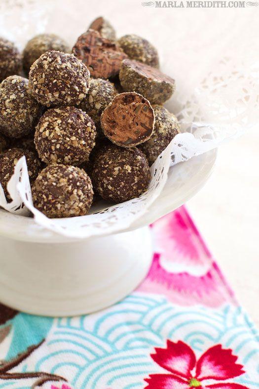 Skinny Dark Chocolate Trail Mix Truffles   recipe on FamilyFreshCooking.com #Paleo