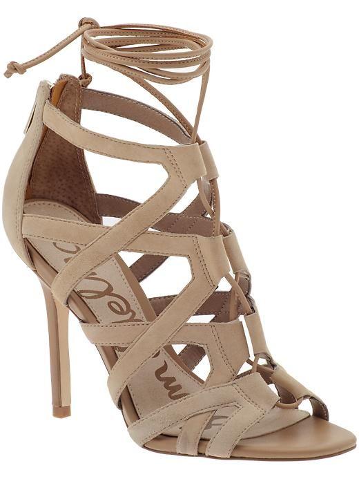 My new everyday heel! | Sam Edelman Almira lace up pumps in beige ...