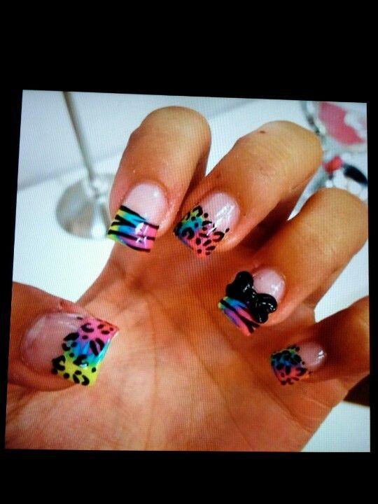 Colorful animal print nails!