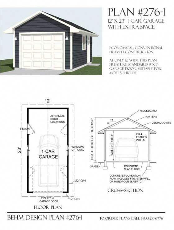 Extra Depth 1 Car Basic Shop Garage Plan 544 1 16 X 34 Behm Garage Plans Garage Shop Plans Garage Plan Garage Plans
