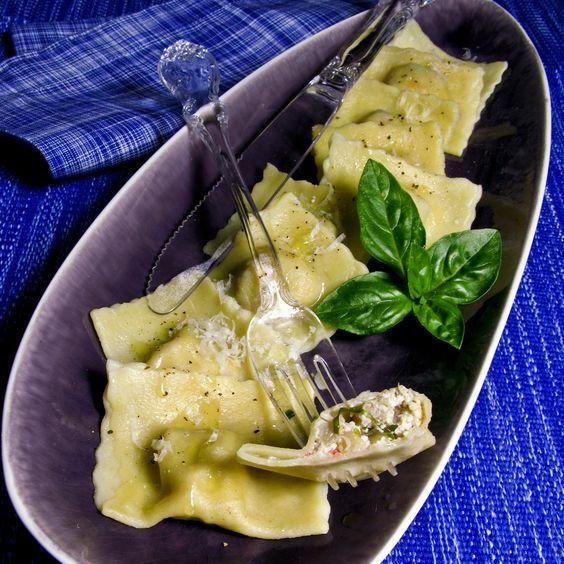 Raviolis d'artichauts au crabe et basilic: