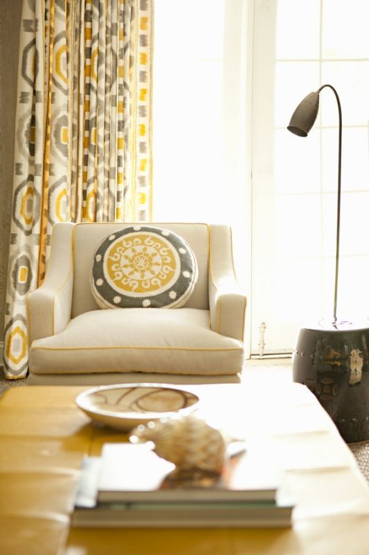 Drapes In Thom Filicia Prospect In Shadow By Kravet Grey And Yellow Living Room Yellow Living Room Living Room Decor Curtains