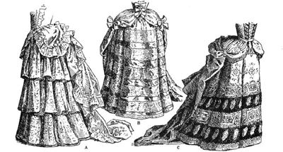 Three examples of manteau gown skirts and the petticoats that are revealed due to the pulling back of the skirts.