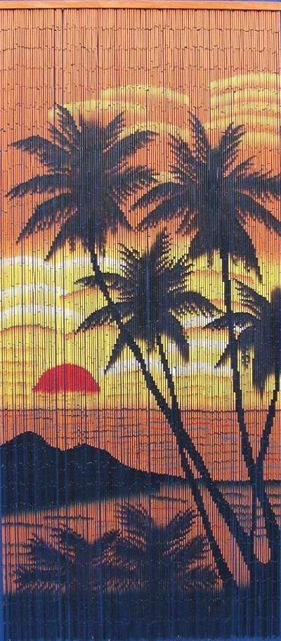 Bamboo door curtain with sunset scene hands wire and for Hand painted bamboo beaded curtains