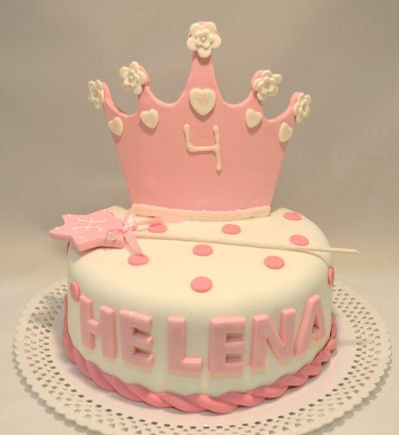 Pastel de princesa con corona y varita m gica - Coronas infantiles de cumpleanos ...