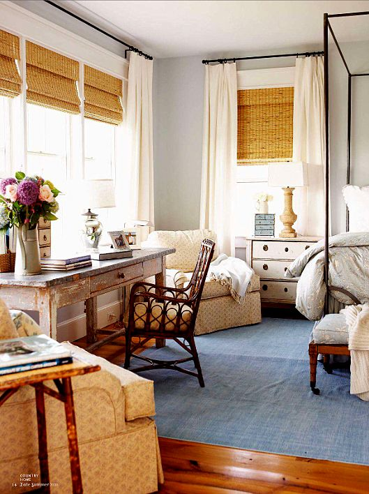 Love the desk and the bright bedroom
