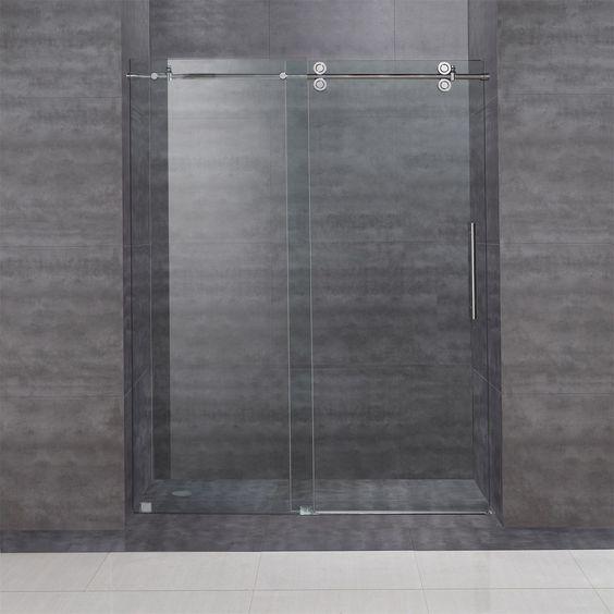 """Aston SDR978 60"""" x 75"""" Completely Frameless Sliding Shower Door"""