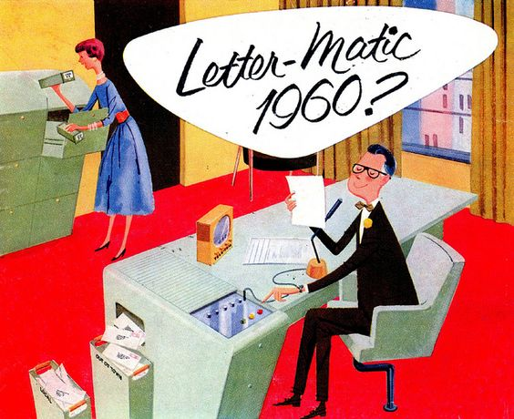 Letter-Matic 1960? ad from 1956. Illustrated by Fred McNabb.: