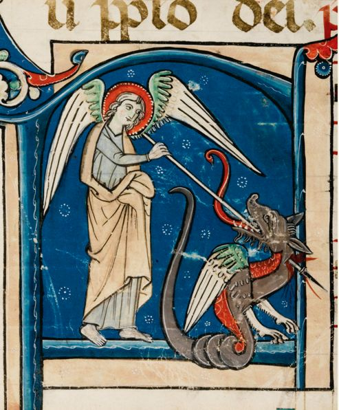St. Michael fighting the dragon from an illuminated manuscript, last quarter of the 13th Century, latin, on vellum, probably Italy.