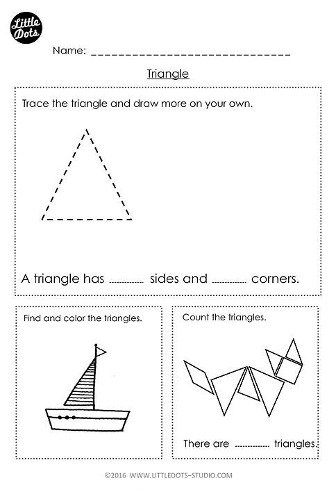 Free Preschool Math Printables Little Dots Education Triangle Worksheet Shapes Worksheets Shapes Worksheet Kindergarten Triangle worksheet for kindergarten