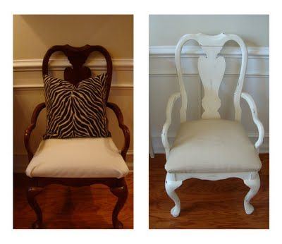 My cherry wood dining room chairs painted white... love the look, but not sure if I would be brave enought to paint over the natural wood color