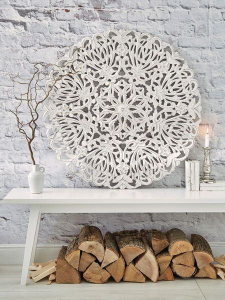 Wooden Wall Art Carved Wood Decor, Round White Wood Wall Decor
