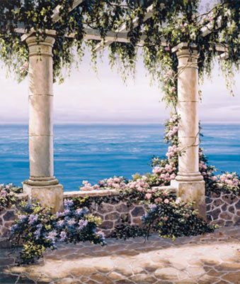 Mediterranean Terrace 2 Mural - Sung Kim  Murals Your Way