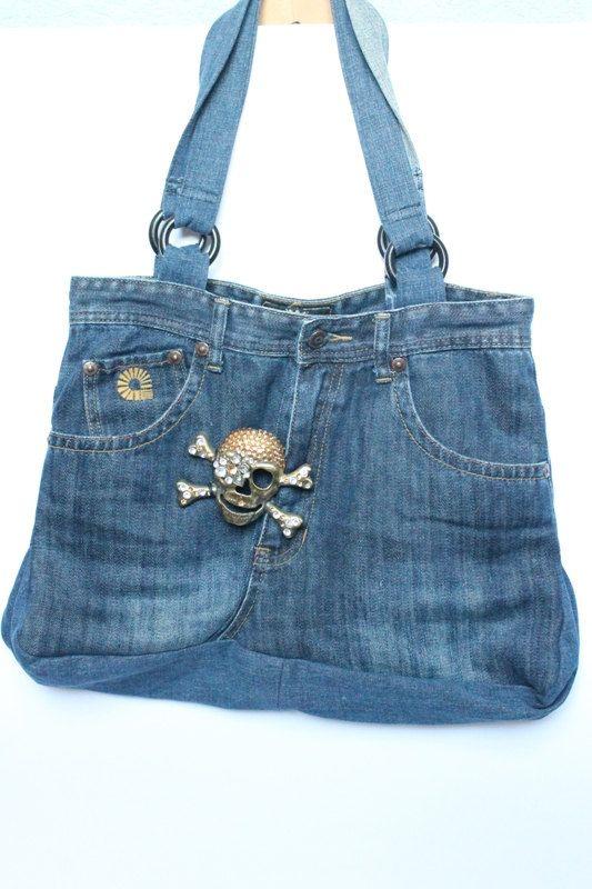 Schädel Denim Handtasche / Bag Denim / moderne Recycling-Tasche / Schulter Tasche / Blaue Jeans Tasche / Denim Handtasche