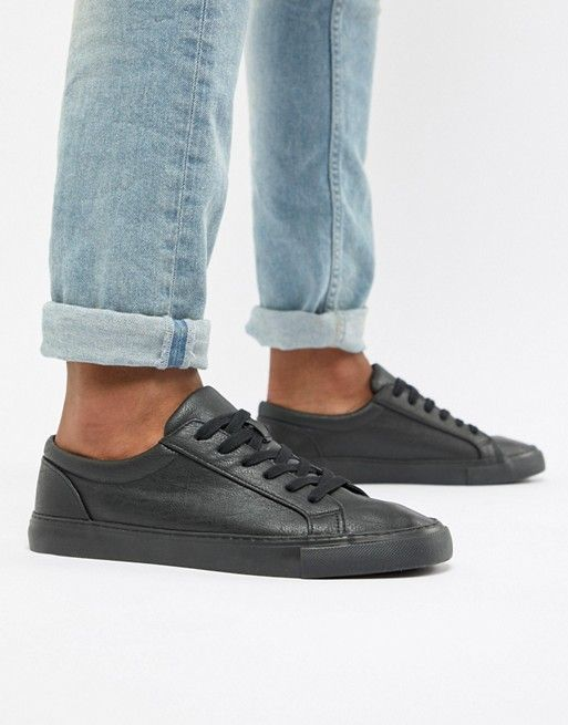ASOS DESIGN lace up trainers in black