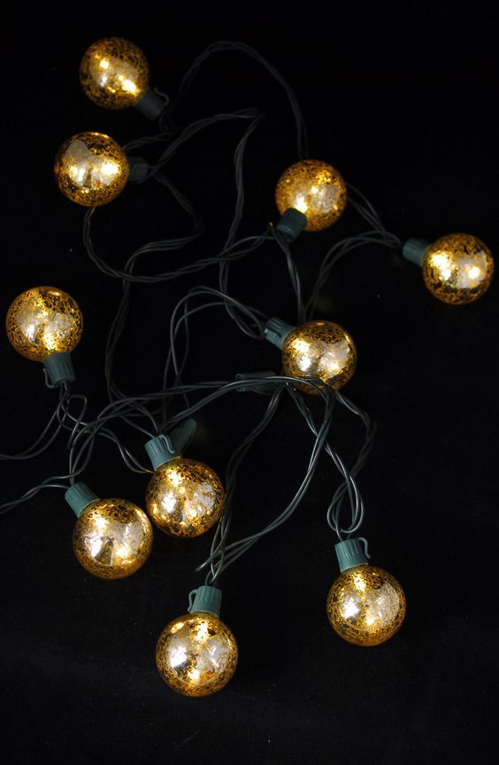 Mercury Glass Globe String Lights 10ct - 9ft Green Cord Mercury glass, Green and String lights