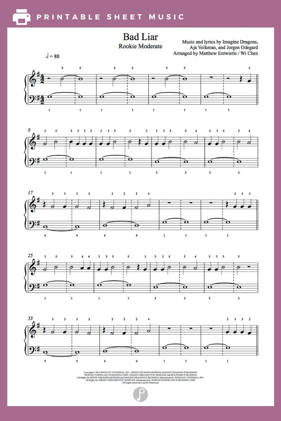Bad Liar By Imagine Dragons Piano Sheet Music Rookie Level With