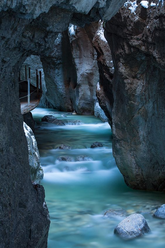 Gorge, Walkway..... Garmisch- Partenkirchen, Germany by Marco Schoefl #turquoise #water #nature: